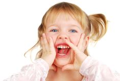 Screaming girl. Horizontal portrait of a blond 3 year old girl screaming, her face is funny and she is very laugh! Isolated on the white stock photography