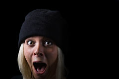 Screaming Girl on black background Stock Photos