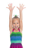 Screaming girl with her ��hands raised Royalty Free Stock Photography
