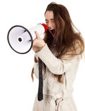 Screaming girl with megaphone Stock Photography
