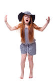 Screaming  girl over white Stock Photos
