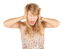Screaming girl with pain, headache Royalty Free Stock Image