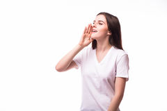 Screaming girl on white background. People emotions concept Stock Images
