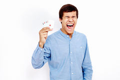 Screaming guy with playing cards Royalty Free Stock Images