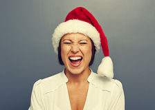 Screaming happy woman over grey Royalty Free Stock Images