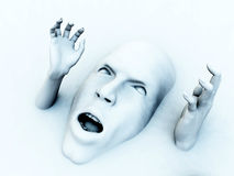 Screaming Head. A conceptual image of a face that could be in great pain or could be screaming in fear, it would be a good Halloween image Stock Photo