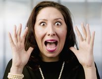Screaming Hispanic Woman Stock Image