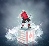 Screaming hockey player on abstract ice cubes background Stock Images