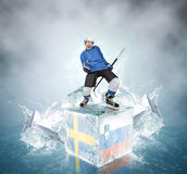 Screaming hockey player on ice cubes: Sweden vs Slovenia QuaterFinal game. Royalty Free Stock Images