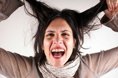 Screaming lady Stock Images