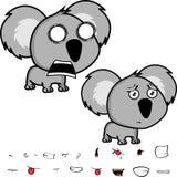 Screaming little big head baby koala expressions set Stock Photography