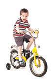 Screaming little boy on bike. Isolated on white Stock Photography