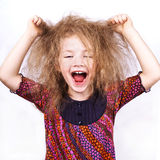 Screaming little funny girl Stock Photos