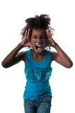 Screaming loud. Little afro american girl screaming very loud and afraid Royalty Free Stock Photo