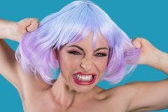 Screaming woman holding purple hair. Screaming mad woman holding purple hair on blue background Royalty Free Stock Images