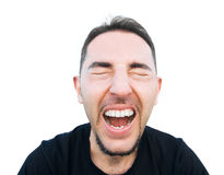 Screaming man. Screaming man isolated on white Royalty Free Stock Photo