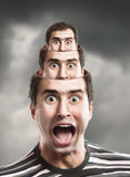 Screaming man. Concept of screaming man with opened head Stock Photography