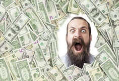 Screaming man in a dollar frame Stock Photos