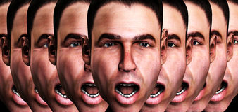 Screaming Man Head 8. A conceptual image of a lot of cloned men in a state of fear Stock Photos