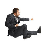 Screaming man kicking as karate Royalty Free Stock Images