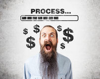Screaming man and loading bar Stock Images