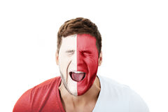 Screaming man with Malta flag on face. Stock Photography
