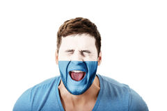 Screaming man with San Marino flag on face. Royalty Free Stock Image