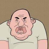 Screaming Man. Screaming single chubby bald Caucasian man cartoon Royalty Free Stock Photos
