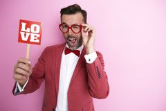 Man with love sign Stock Photos