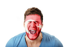 Screaming man with Turkey flag on face. Stock Photos