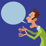 Screaming man. Vector illustration of cartoon screaming man with speech bubble Royalty Free Stock Images