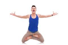 Screaming man  in a zen position Stock Photos