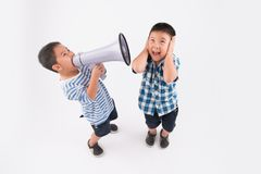 Screaming in megaphone Stock Images