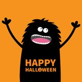 Screaming monster fluffy body silhouette looking up. Two eyes, teeth, tongue, spooky hands. Black Funny Cute cartoon baby characte Royalty Free Stock Images