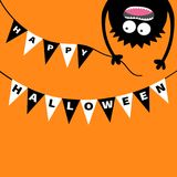 Screaming monster head silhouette. Bunting flags pack Happy Halloween letters. Flag garland. Hanging upside down. Black Funny Cute Stock Image