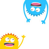 Screaming monster head silhouette set. Two eyes, teeth, tongue, hands. Hanging upside down. Funny Cute cartoon character Royalty Free Stock Images