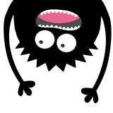 Screaming monster head silhouette. Two eyes, teeth, tongue, hands. Hanging upside down. Black Funny Cute cartoon character. Baby c Stock Photography
