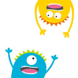 Screaming monster set. Head silhouette. Two eyes, teeth, tongue, hands. Hanging upside down. Funny Cute cartoon character. Baby co Stock Images