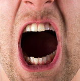 Screaming mouth. Male screaming open mouth with teeth Stock Photo
