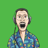 Screaming music fan in headphones. Vector illustration of screaming music fan in headphones. Easy-edit layered vector EPS10 file scalable to any size without Stock Photos