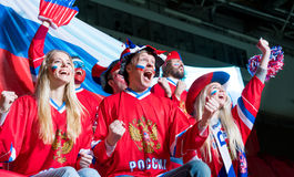 Screaming people. Happy sports fans in stadium Stock Photography