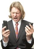 Screaming Into The Phones Stock Image