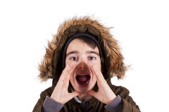 Screaming. Portrait of boy screaming with her coat Stock Photos
