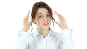 Screaming Red Hair Woman, White Background stock footage