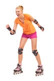 Screaming roller skating girl. Stock Image