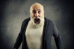 Screaming senior man with beard over dark wall Royalty Free Stock Images