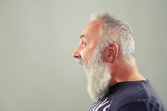 Screaming senior man with grey-haired beard Royalty Free Stock Photos
