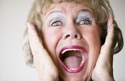 Screaming Senior Woman Stock Image