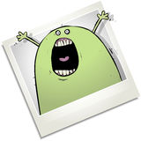 Screaming or singling monster Polaroid cartoon character Stock Photo