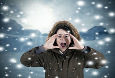 Screaming in the snow Royalty Free Stock Image